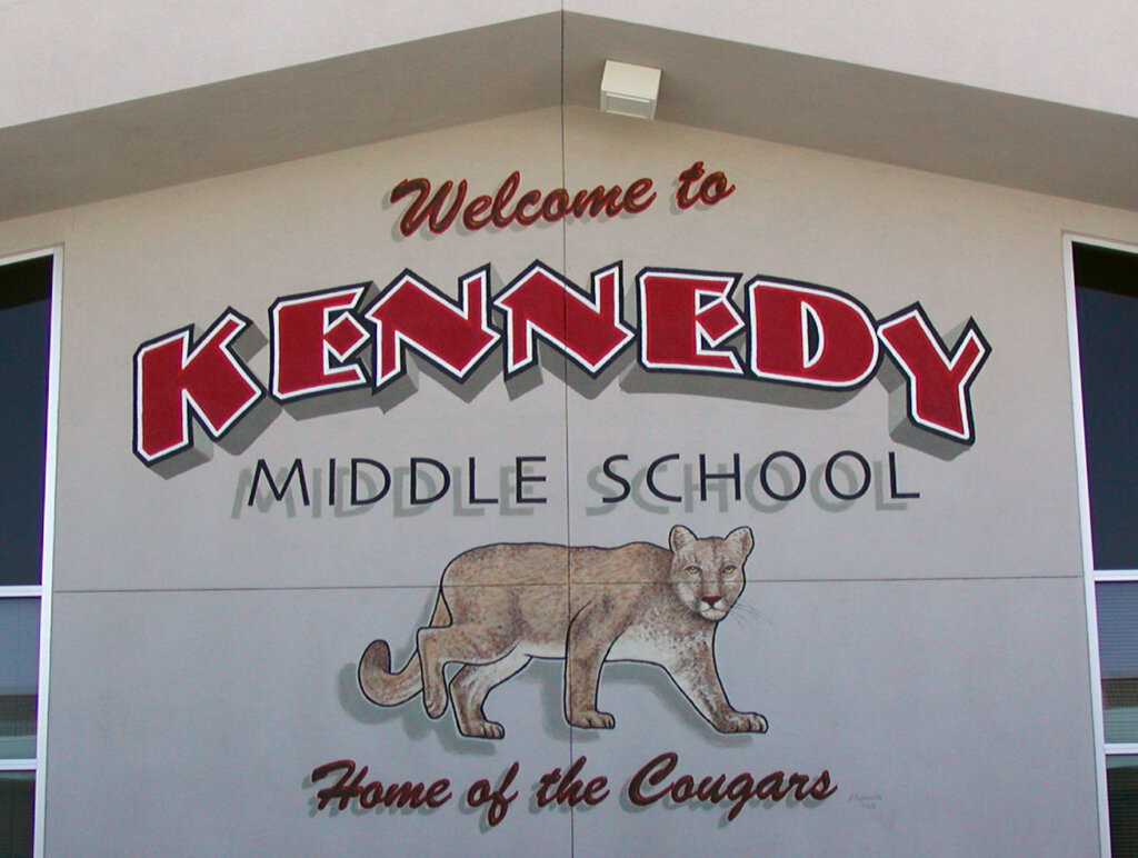 custom school signs Cupertino kennedy front wall mascot mural