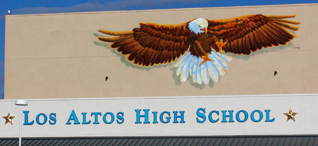 custom school signs Los Altos high gym exterior wall large eagle mascot mural painting