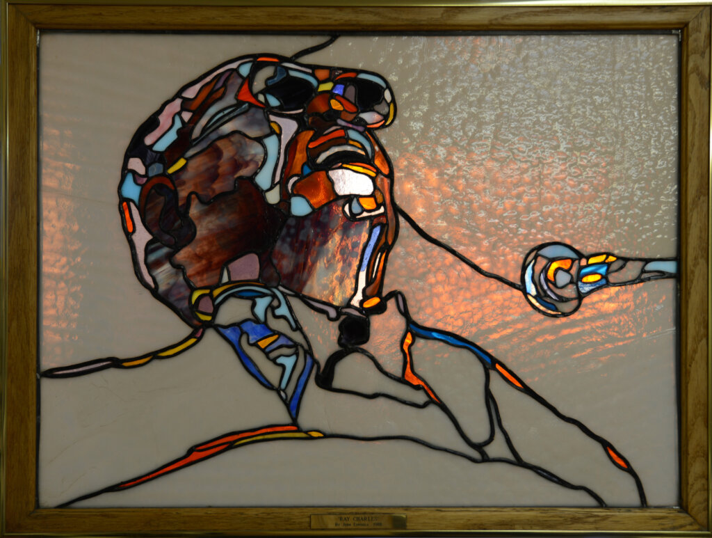 stained glass Los Gatos window ray charles california